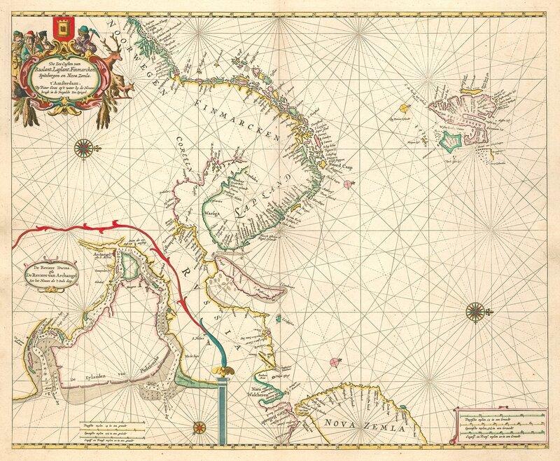 De zee custen van Ruslant, Laplant, Finmarcken, Spitsbergen en Nova Zemla.1676