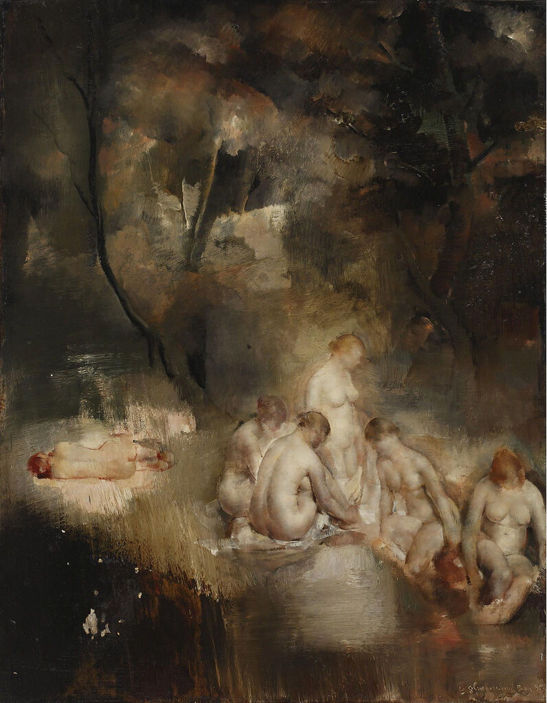 Grigory Gluckmann - Bathers in the Forest, 1930.jpeg