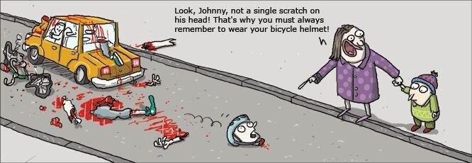 Смотри, Джонни, его голова цела! Вот видишь, зачем нужно надевать велошлем!