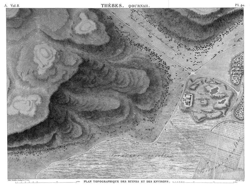 Храм Сети I в Курне, карта местности из Египетского атласа Наполеона
