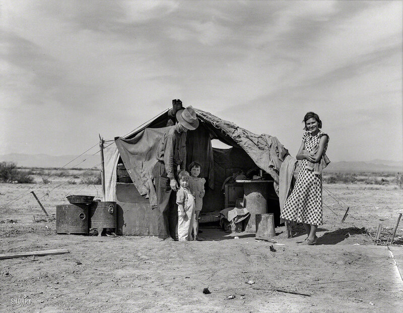Spring 1937. This family without food and work about to be returned to Oklahoma by the Relief Administration. They have lost a baby as a result of exposure during the winter. Had to sell their tent and car to buy food