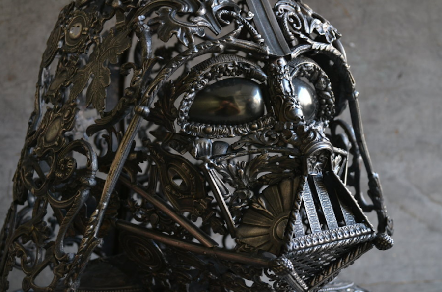 Metallic Sculptures of Darth Vader and R2D2