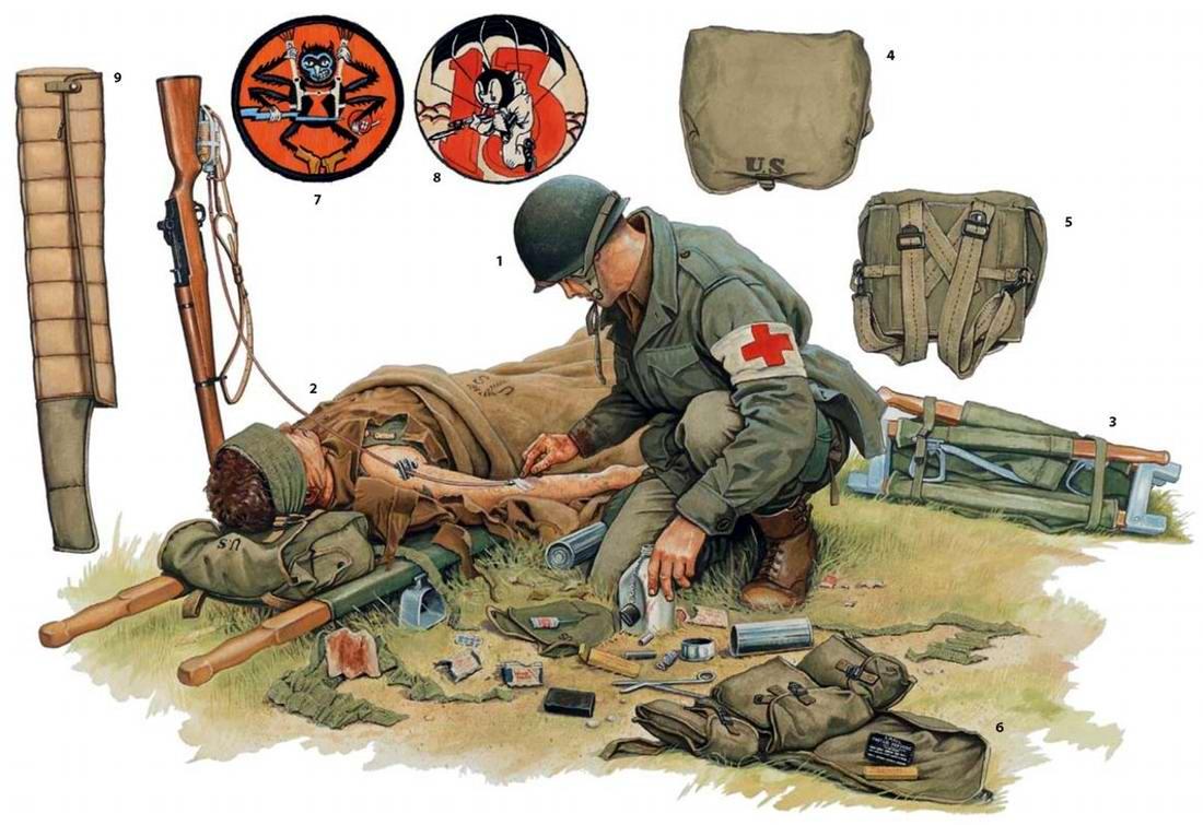 Вооружение и экипировка военнослужащих 507-го и 513-го парашютных пехотных полков армии США в Германии (24 марта 1945 года)