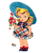clipart Vintage girl with flowers