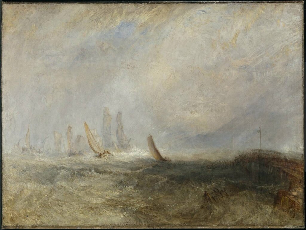 Fishing Boats Bringing a Disabled Ship into Port Ruysdael exhibited 1844 by Joseph Mallord William Turner 1775-1851