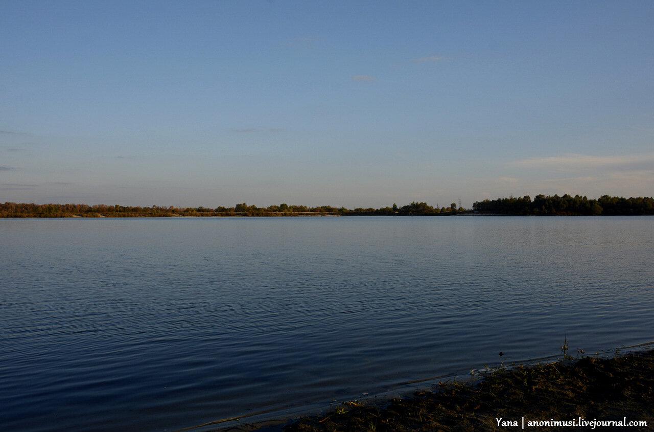 Закат над озером.  Шведская горка. Гомель