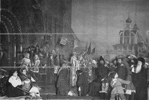 """""""Въезд в Москву предводителей ополчения в 1612 году"""" - сцена из постановки живых исторических картин."""