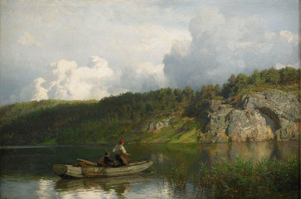 Hans Gude - Analkande oväder (1871)..jpg