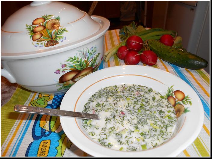 Вкуснейшая окрошка на кефире и минеральной воде рецепт