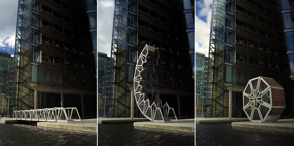 Удивительную конструкцию представляет собой мост Rolling Bridge в Лондоне. Это настоящий трансформер