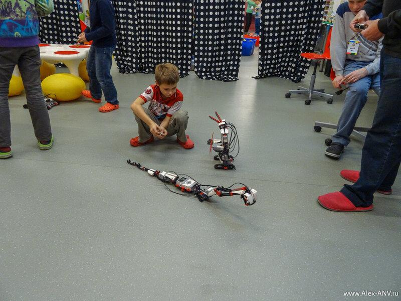 Впрочем собирать просто машинки из конструктора детям быстро наскучило и они переключились на самодвижущихся роботов, собранных разумеется из того же конструктора Лего.