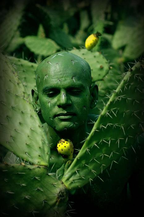 Боди-арт под кактус