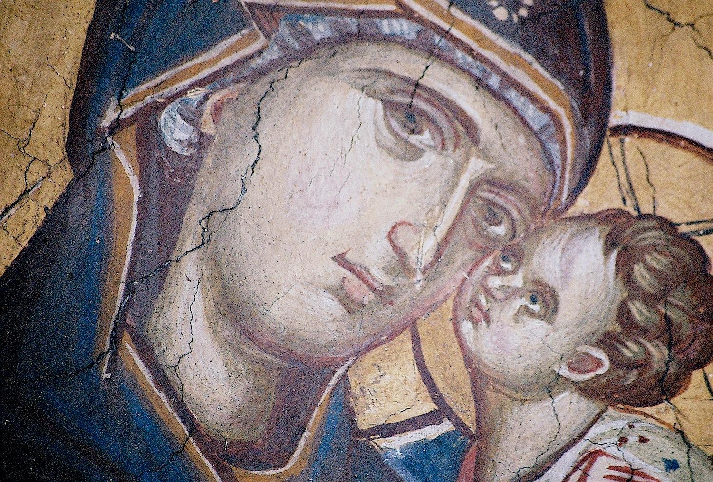 Богоматерь Милостивая. Фрагмент фрески монастыря Высокие Дечаны, Косово, Сербия. Около 1350 года.