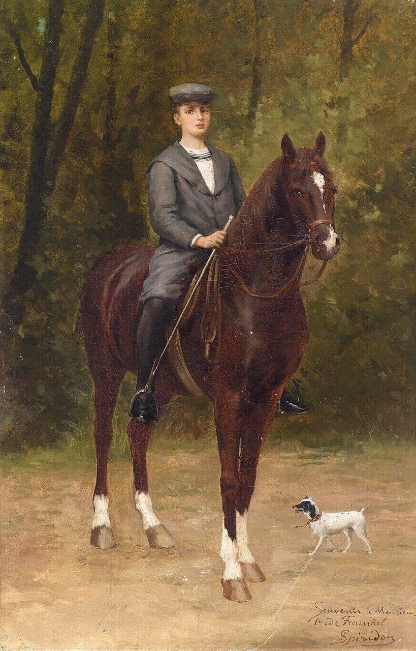 Оскар фон Френкель на лошади (Oskar von Fraenkel (1887-1940) zu Pferd)_ок.1898_66 x 43_х.,м._Частное собрание