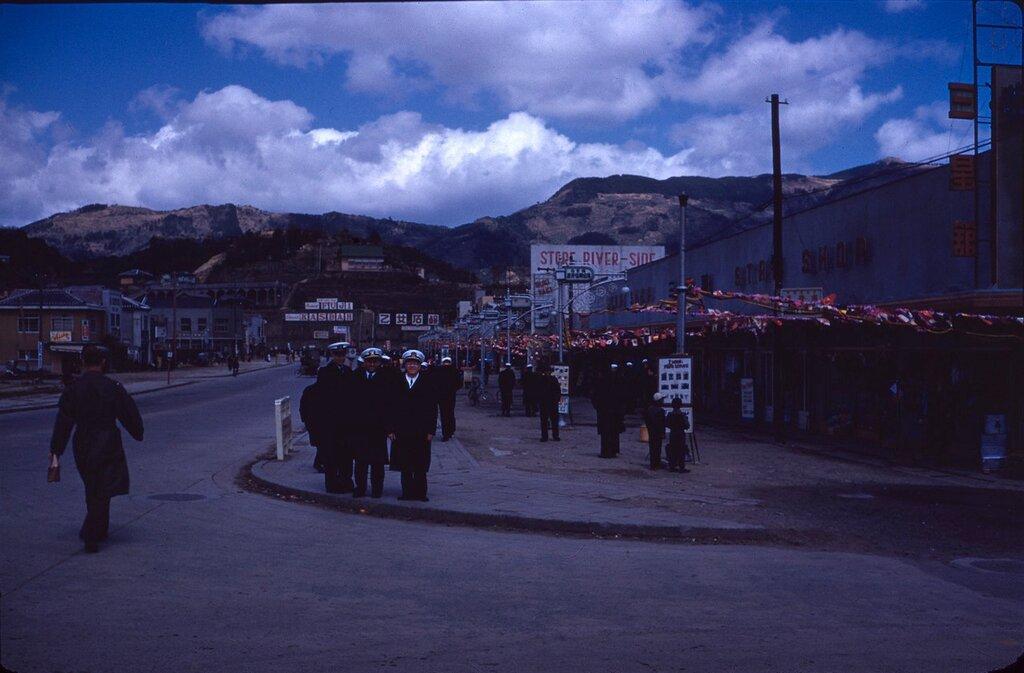 Officers ashore, Sasebo, Japan