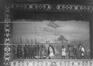 """""""Славяне приглашают варягов"""" - сцена из постановки живых исторических картин."""