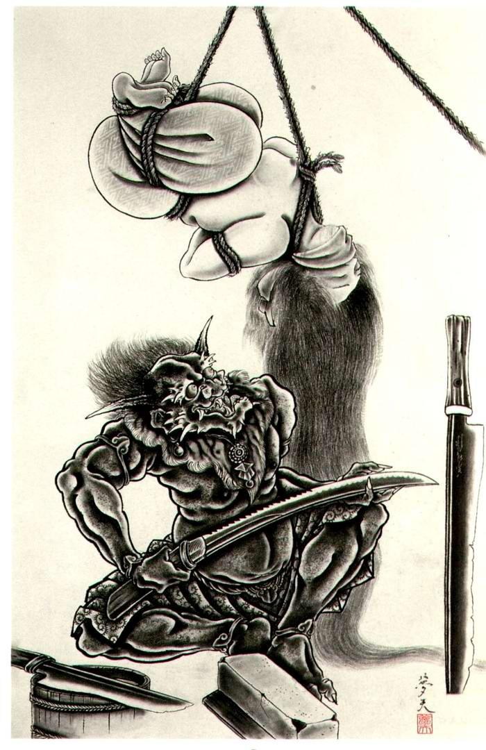 Злобные демоны на эскизах татуировок японского художника Horiyoshi (4)