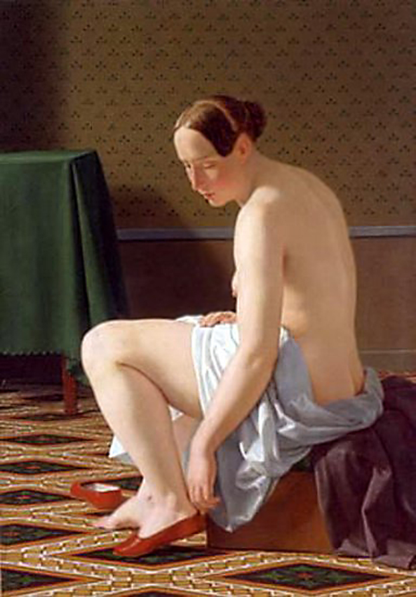 Woman putting on her slippers,1843, Christoffer Wilhelm Eckersberg (1783–1853)