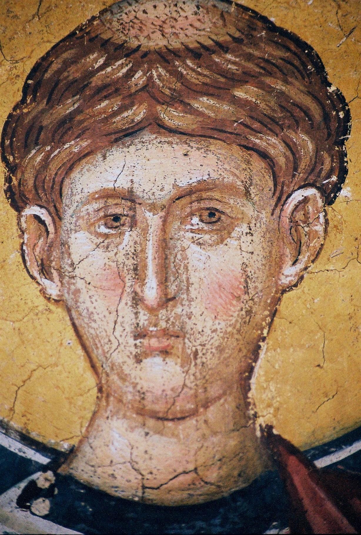 Святой Первомученик Архидиакон Стефан. Фреска монастыря Высокие Дечаны, Косово, Сербия. Около 1350 года. Фрагмент.