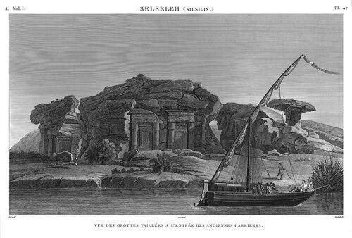 Пещерный храм Хоремхеба и каменоломни в Гебель Эс-Сильсила, гравюра наполеоновской экспедиции