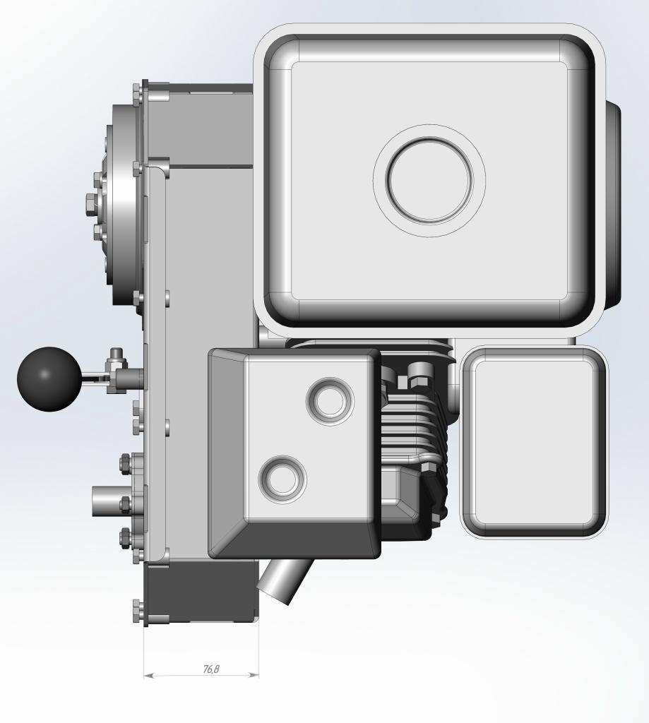 Двухступенчатый редуктор с центробежным сцеплением.