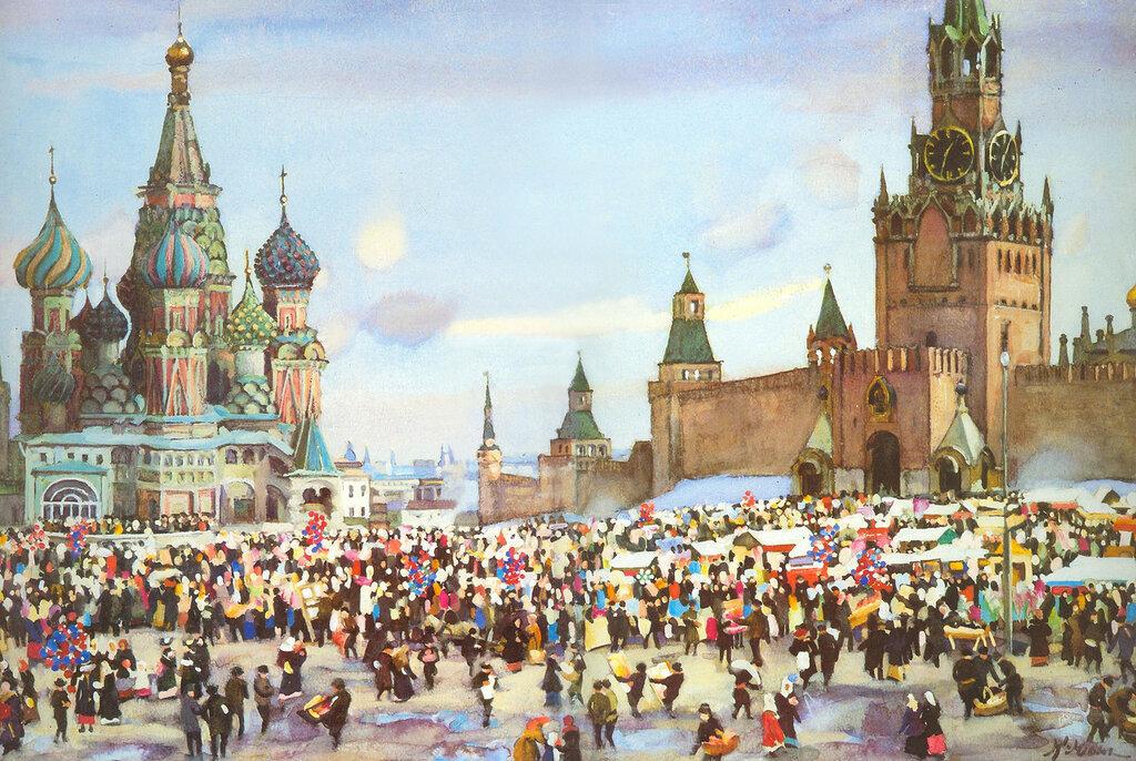 Константин Юон - Вербный базар на Красной площади, 1916 г.