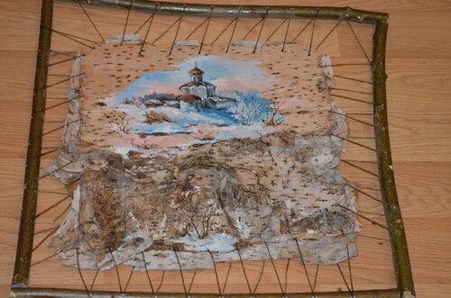 Картина на березовой коре
