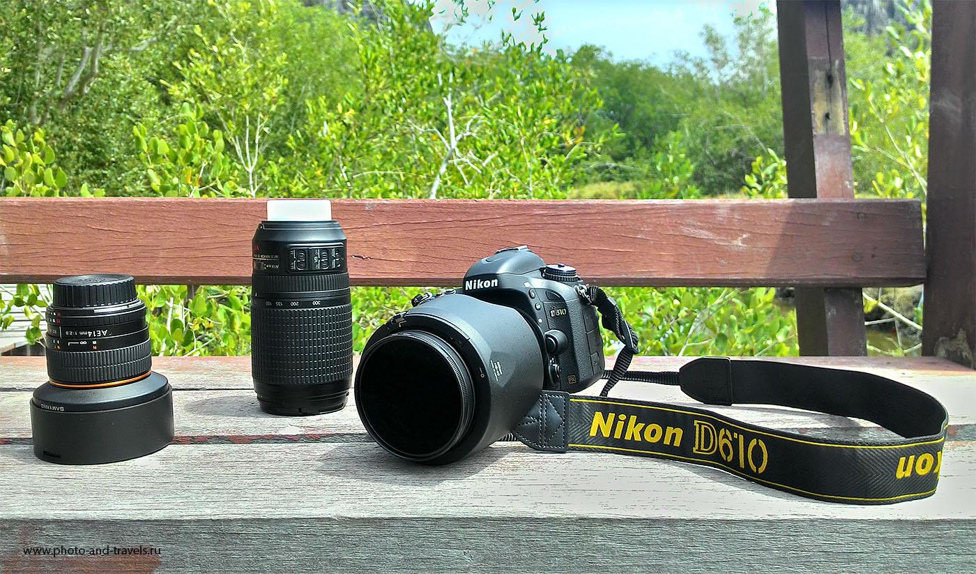 14. Мой фотоаппарат Nikon D610, объективы и поляризационный фильтр (снято на смартфон). Для съемки в путешествии мне нужен и широкоугольный фикс, и универсальный зум и телеобъектив.