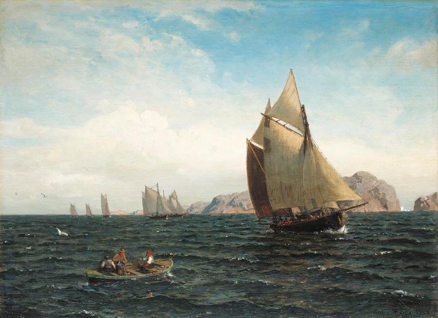 Hans Gude - Seilbåter på fjorden (1880)..jpg