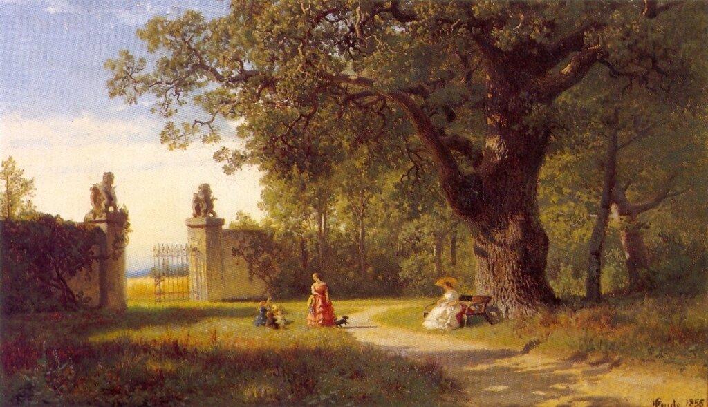 Hans Gude--Parklandskap Med Figurer--1856..jpg