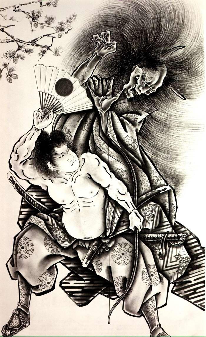 Злобные демоны на эскизах татуировок японского художника Horiyoshi (52)