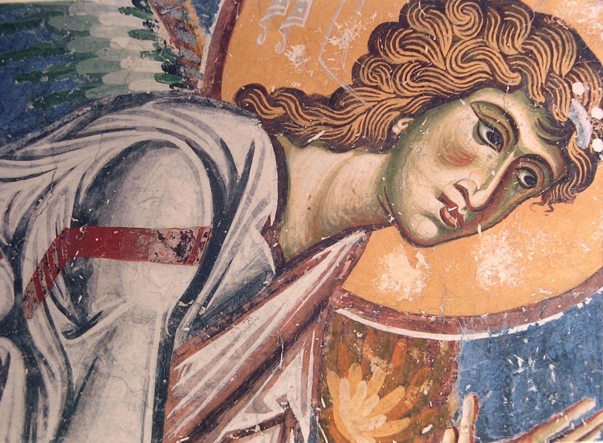 Архангел Михаил. Фрагмент фрески церкви Св. Георгия в Курбиново, Македония. 1191 год.