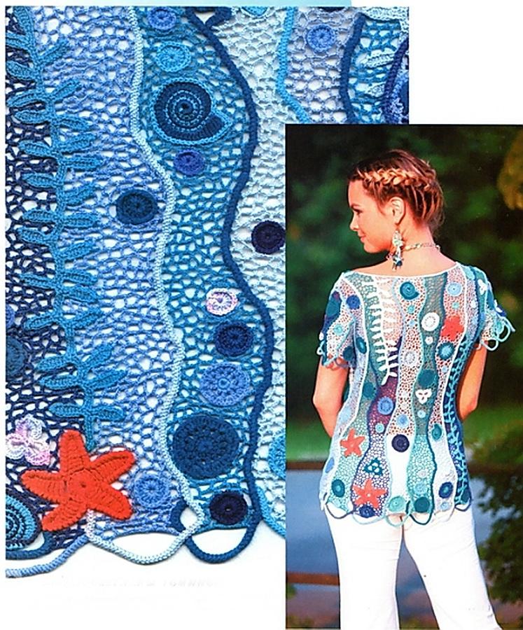 Морская тема в трикотаже. Кофточка связанная крючком, вертикальные полосы, ракушки, морские звезды, водоросли. Бирюзовые и голубые  тона, оранжевый и белый