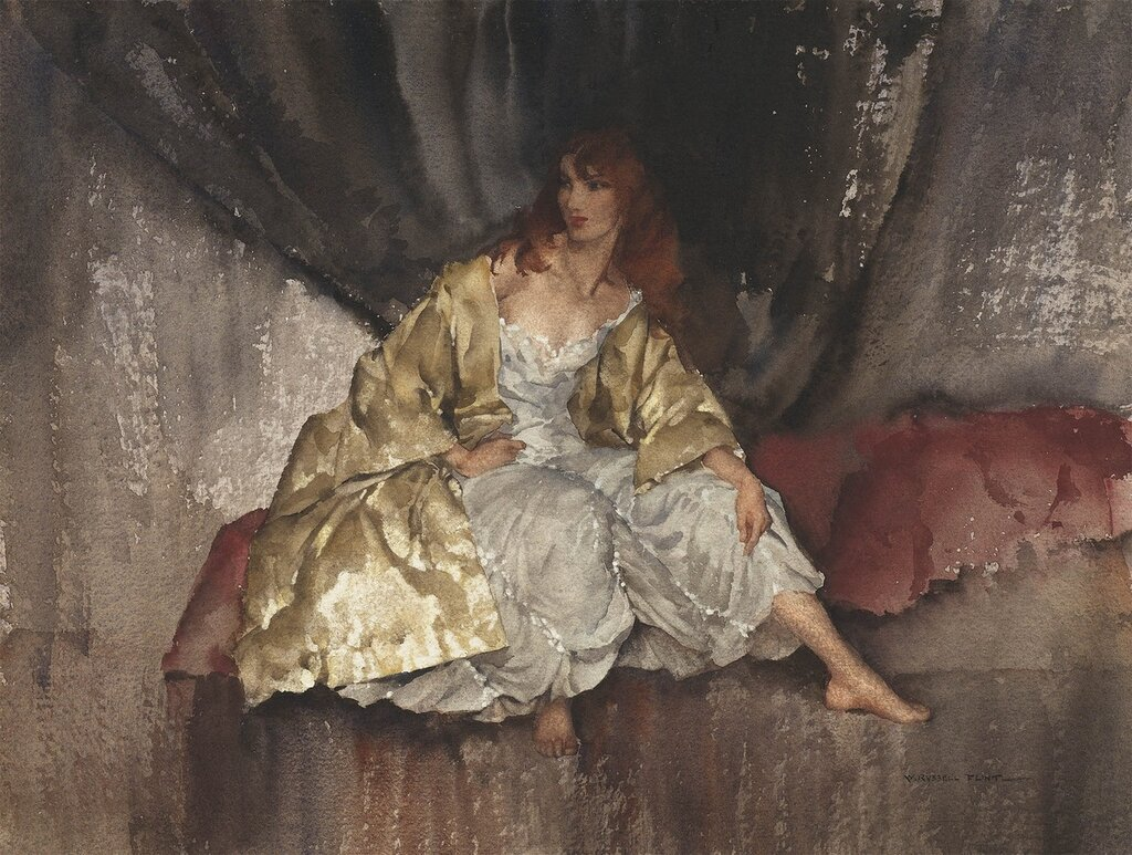 Sir William Russell Flint - Barefoot girl in a gold coat - 28274-20.jpg