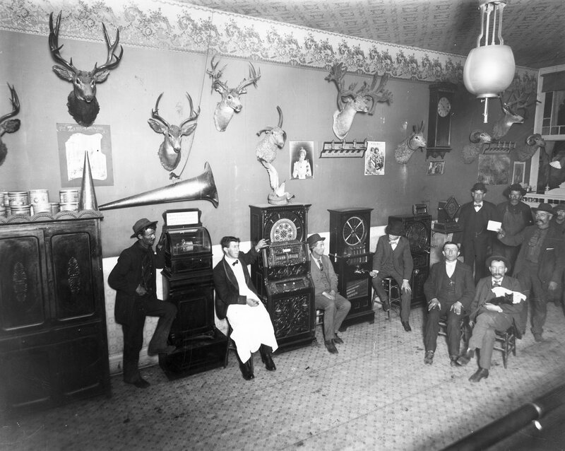 Interior view of a saloon in Leadville, Colorado; between 1880 and 1910.