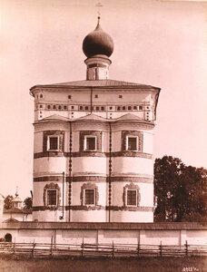 Вид фасада церкви Вознесения Господня Николо-Вяжищского монастыря. Новгород г., близ Новгорода
