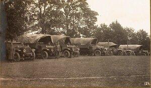 Стоянка грузовиков автомобильной команды штаба армии.
