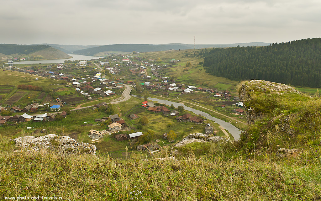 3. Вид на село Нижнеиргинское в Красноуфимском районе. Снято на Nikon D5100 + Nikon 17-55/2.8 (ФР=17мм, f/11, ISO 500)