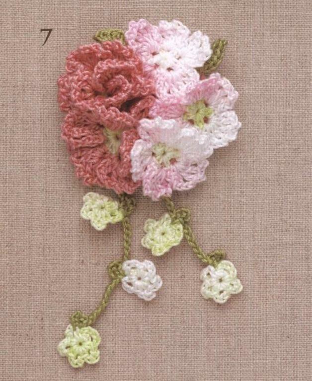 Вязаные миниатюры, цветы, листья, подхваты для штор