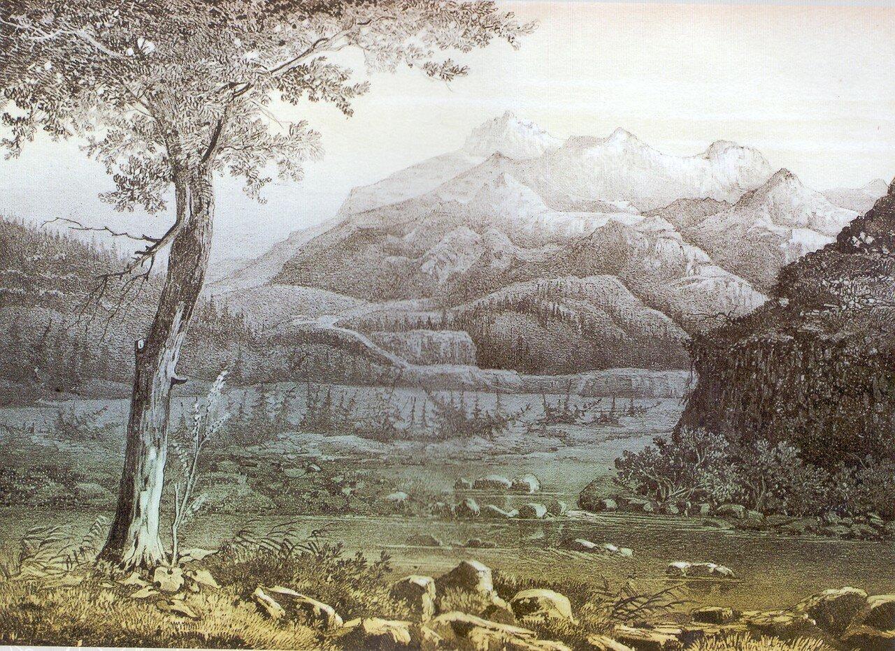 91. Мунку-Сардык. Вид из долины Иркута. Восточная сторона (с Хангинского пограничного участка, 4300 над уровнем моря). Кто-то с рис. Немировского под вопр.jpg