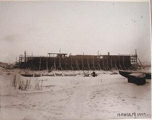 Вид построенного корпуса канонерской лодкиКореец.