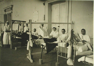 Лечение раненых вытяжением в   Евгенинском госпитале № 1 имени  Ее императорского высочества великой княгини Ольги Александровны