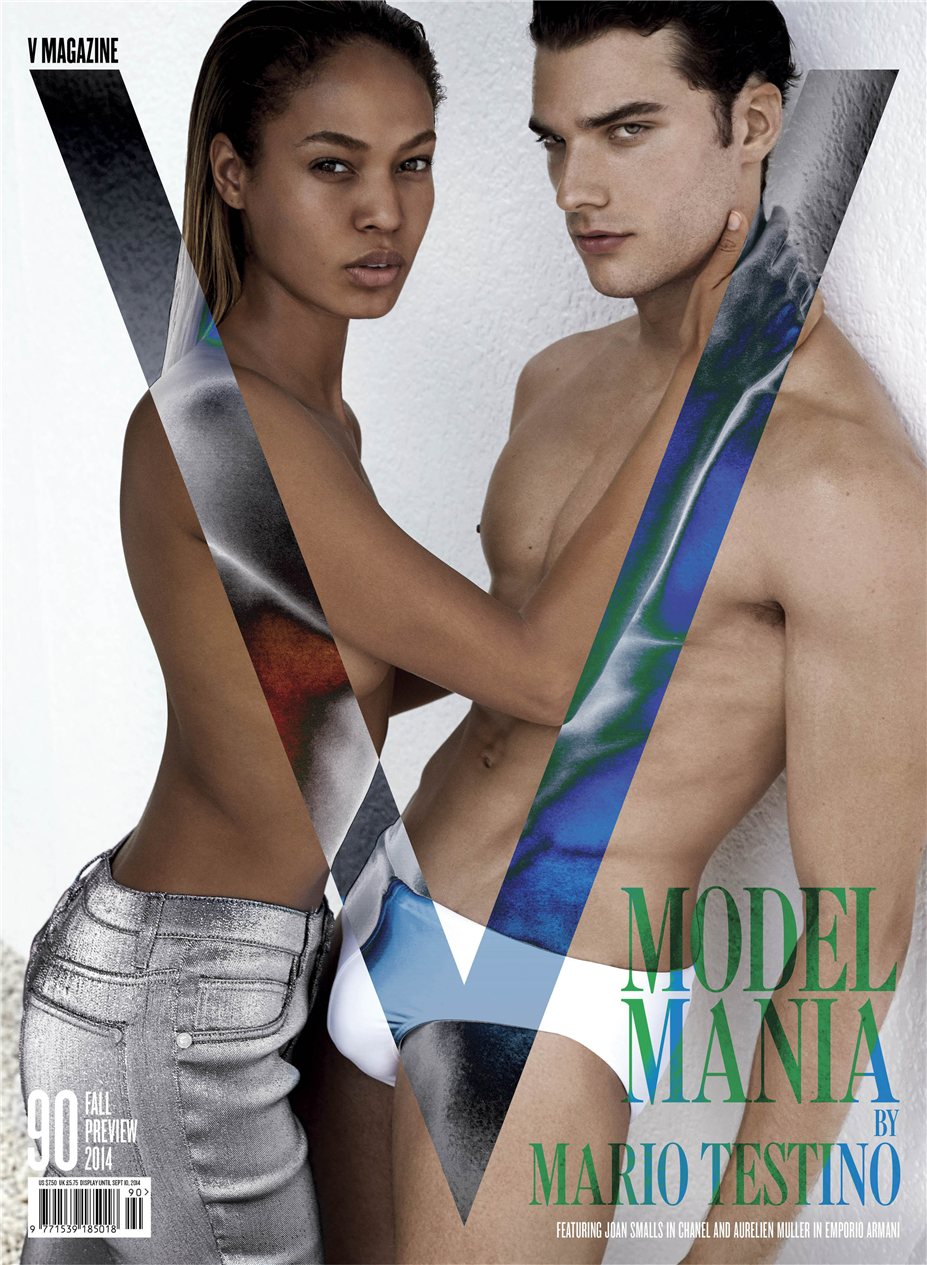 Less (In This Case) is More / Joan Smalls, Aurelien Muller by Mario Testino in V Magazine #90 Fall Preview 2014
