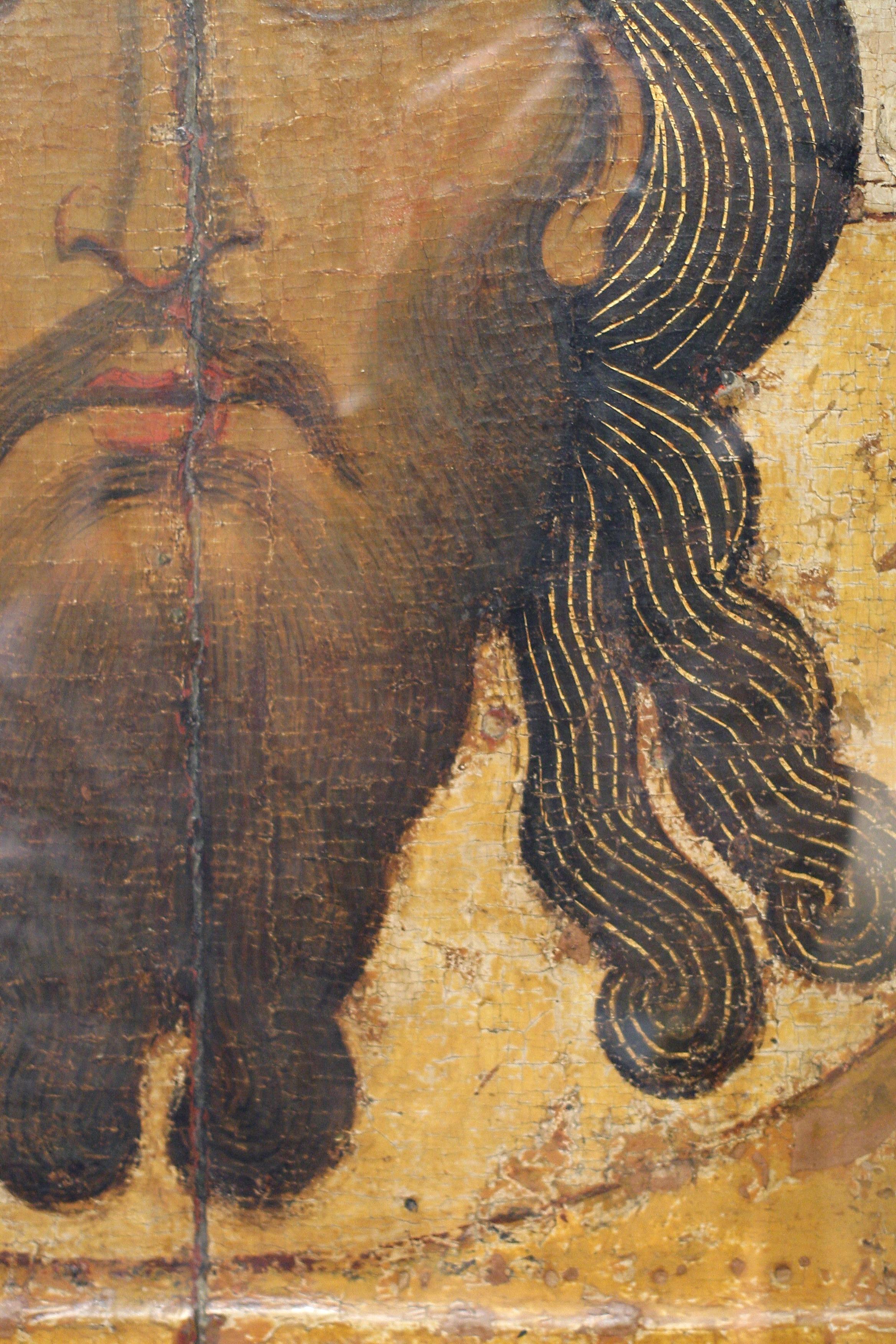 Спас Нерукотворный. Икона. Новгород, XII век. ГТГ. Фрагмент.