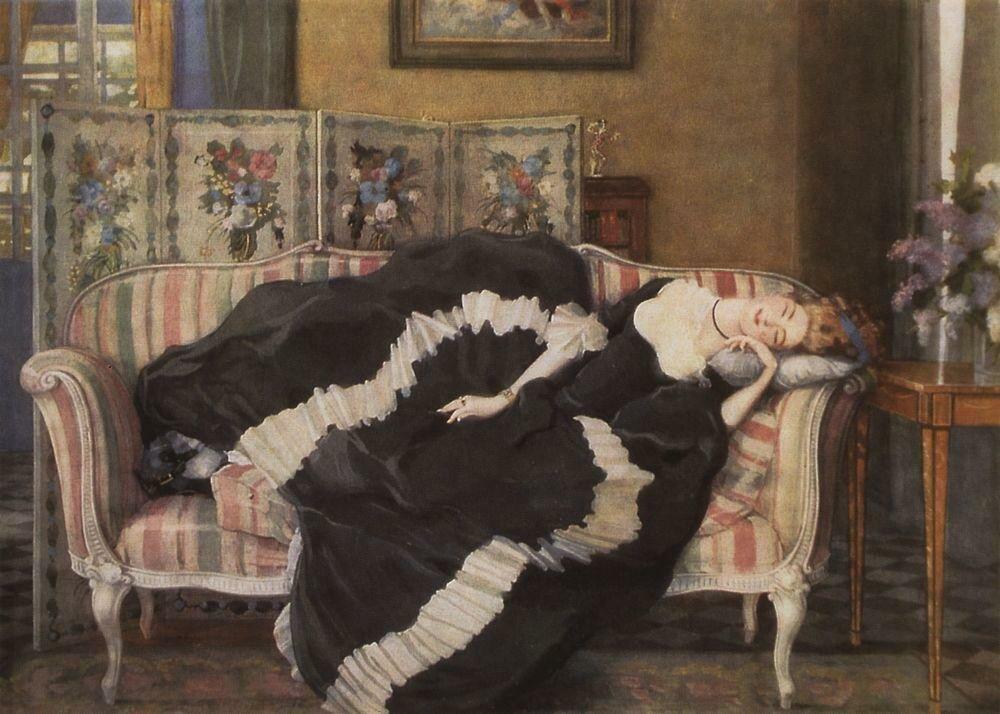 Спящая молодая женщина. 1909.jpg