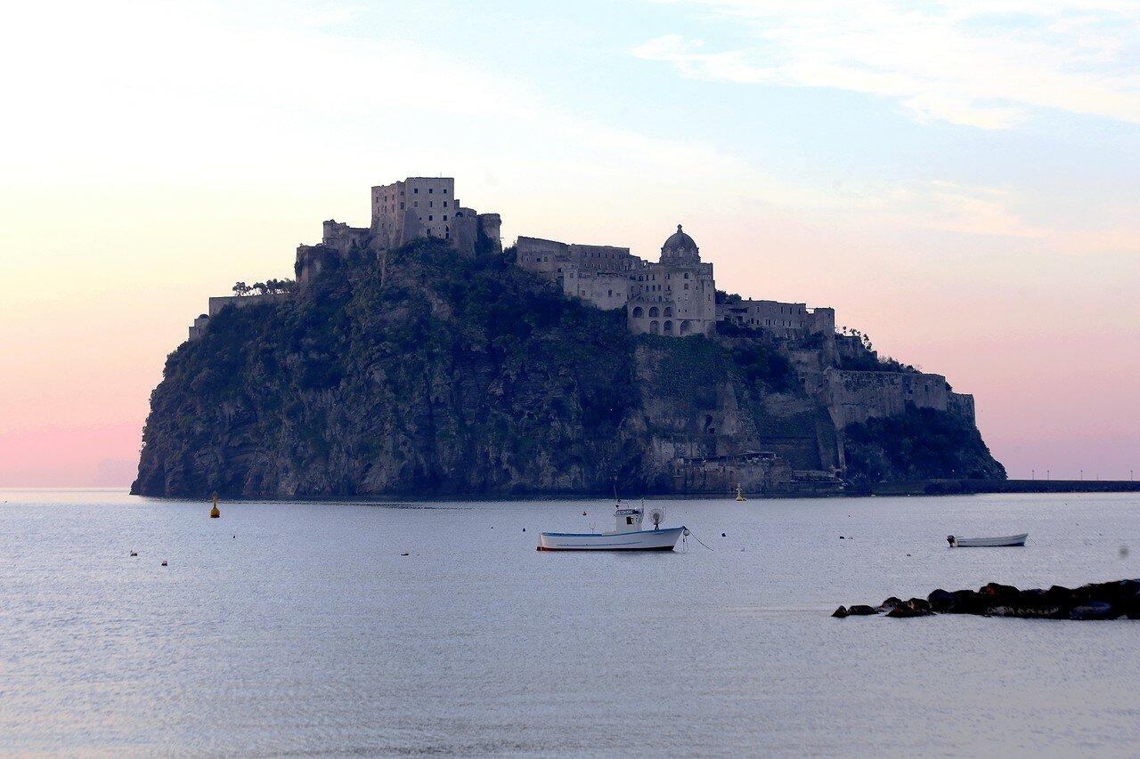 Dawn in Ischia-Ponte. Aragonese castle.