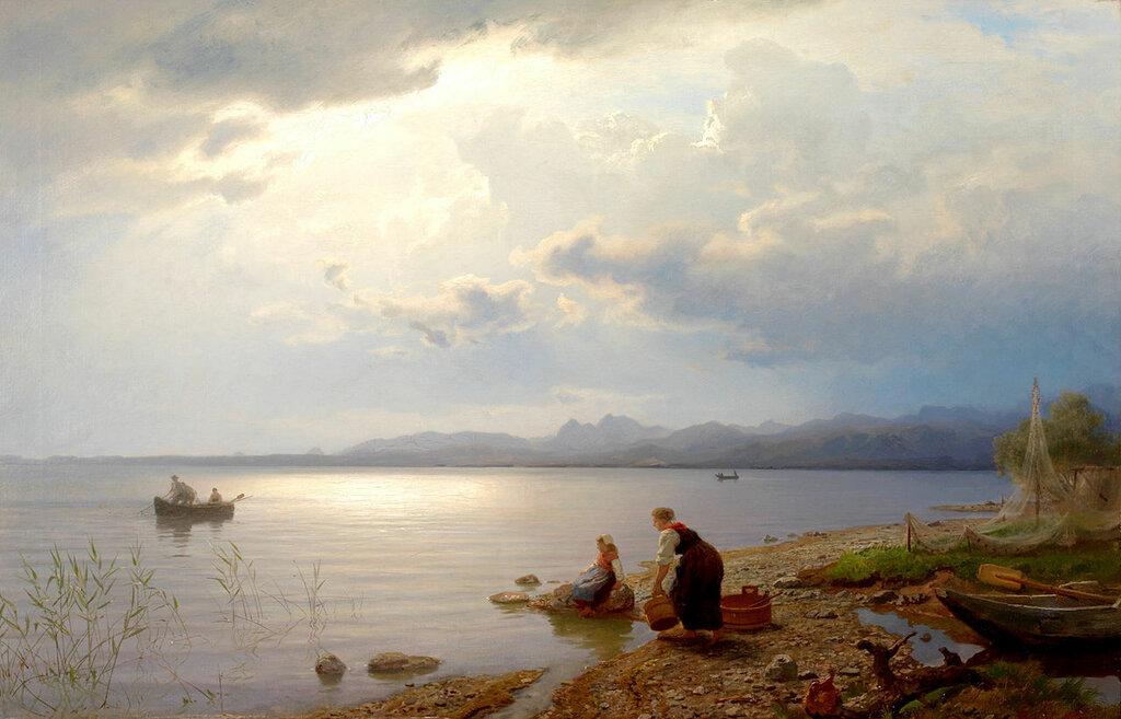 Hans Gude - Ved bredden av Chiemsee (1871)..jpg