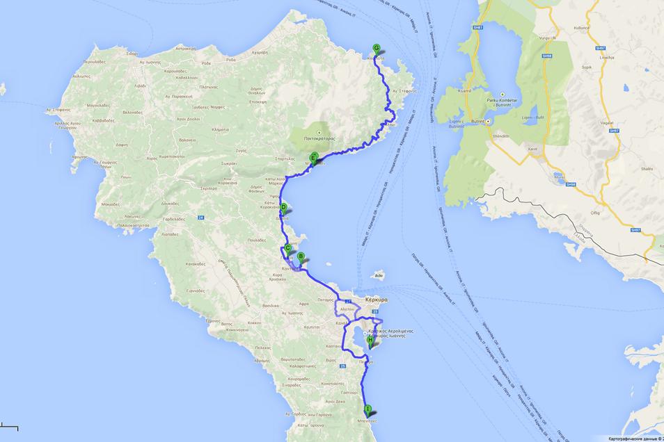 Автомобильный маршрут по северо-восточному побережью Корфу