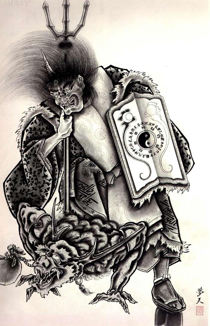 Злобные демоны на эскизах татуировок японского художника Horiyoshi (5)