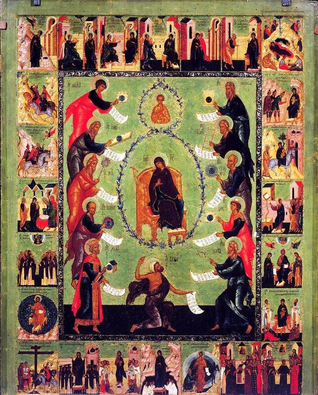 Похвала Пресвятой Богородицы с Акафистом в клеймах. Русская икона середины XVI века.